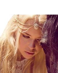 Suppion Fashion Chain Headband Head Shiny Piece Hair Band Tassels Gold