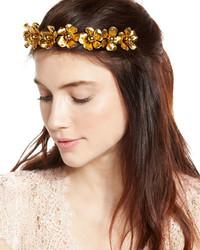 Jennifer Behr Charlotte Floral Circlet Headband Gold