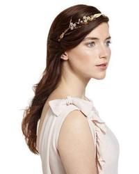 Jennifer Behr Crystal Flower Golden Leaf Headband