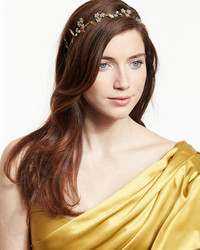 Jennifer Behr Crystal Flower Headband Golden