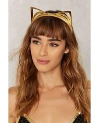 Factory Fraulein Kink Champagne Kitten 18k Gold Leather Headband