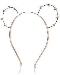 River Island Gold Tone Rhinestone Bunny Ears Headband