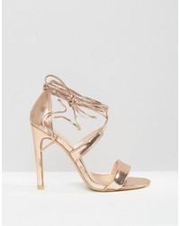 37dee191242 ... True Decadence Rose Gold Metallic Ankle Tie Heeled Sandals ...