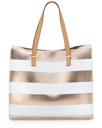 Gold Horizontal Striped Leather Tote Bag