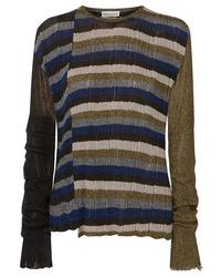 Sonia Rykiel Metallic Striped Ribbed Knit Sweater