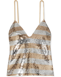 Balmain Chain Embellished Striped Sequined Crepe Camisole