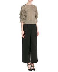 Valentino Knit Pullover With Ruffled Sleeves
