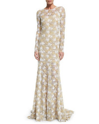 Gold Lace Evening Dress