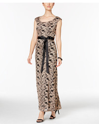 R & M Richards Lace Belted Gown