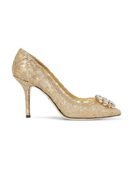 Dolce & Gabbana Crystal Embellished Corded Lace Pumps