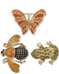 Charter Club Gold Tone Butterfly Frog And Bee Colorful Crystal Pins Brooch Set