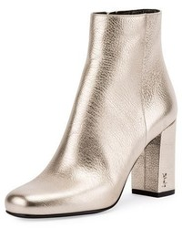 Saint Laurent Babies Metallic 90mm Ankle Boot Platino
