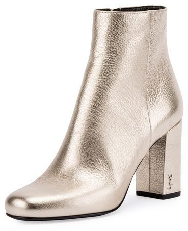 ... Gold Leather Ankle Boots Saint Laurent Babies Metallic 90mm Ankle Boot  Platino ... 2c10c9574ffc