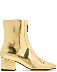 Dorateymur Double Delta Mirrored Leather Ankle Boots Gold