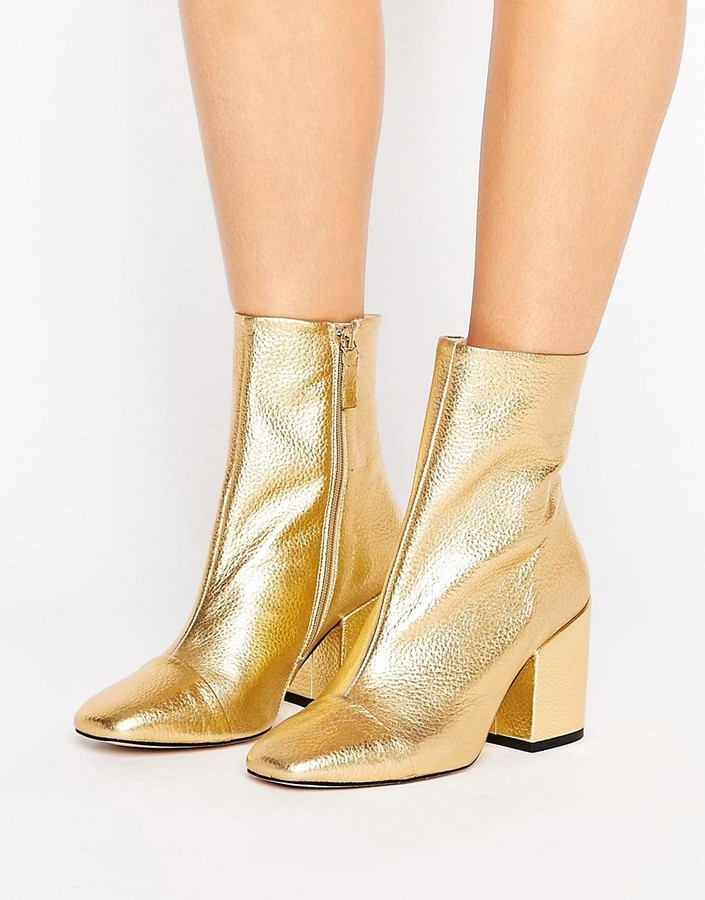 good service reliable quality official $85, Mango Gold Leather Ankle Boot