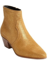 Saint Laurent Gold Metallic Leather Ankle Booties