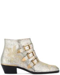 Chloé Grey Glitter Susanna Ankle Boots