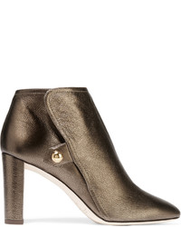 Jimmy Choo Medal Metallic Textured Leather Ankle Boots Bronze