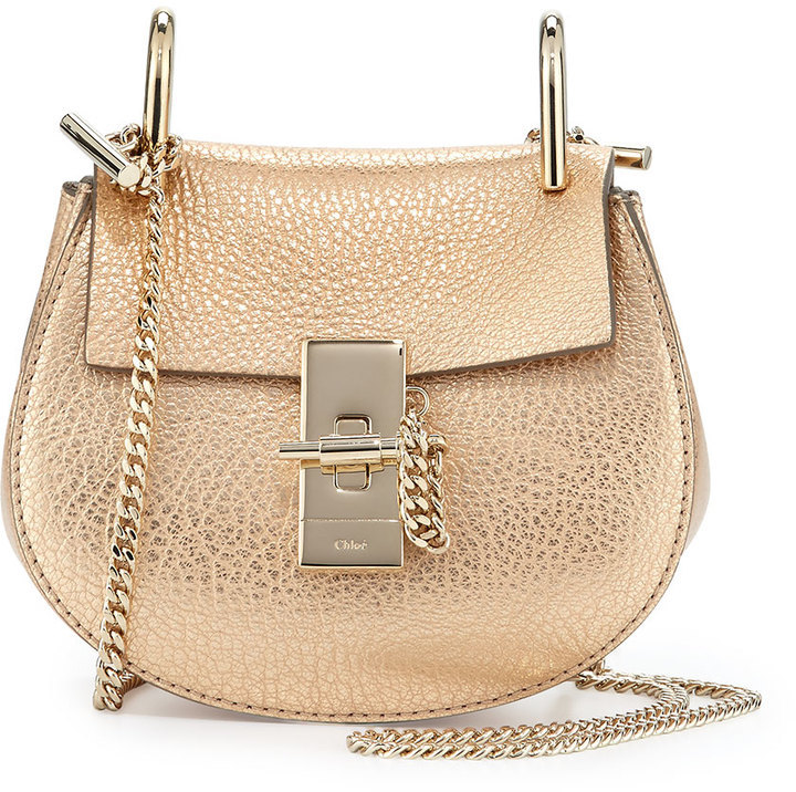 a97233b791 $1,250, Chloé Chloe Drew Nano Leather Saddle Bag Gold