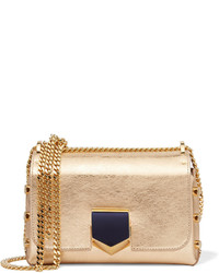 Jimmy Choo Lockett Small Metallic Textured Leather Shoulder Bag Gold