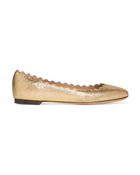 Chloé Lauren Scalloped Metallic Cracked Leather Ballet Flats