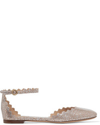 Chloé Lauren Scalloped Metallic Leather Ballet Flats Gold