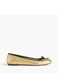 J.Crew Lily Ballet Flats In Crackled Leather