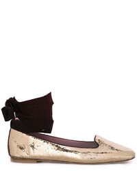 Pollini Metallic Lace Up Ballerinas
