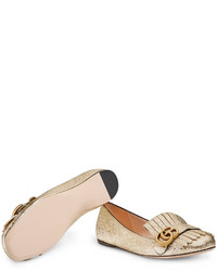 Gucci Metallic Leather Ballet Flat