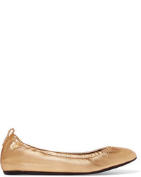 Lanvin Metallic Leather Ballet Flats Gold