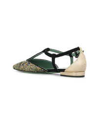 Paola D'arcano Patterned T Bar Ballerina Shoes