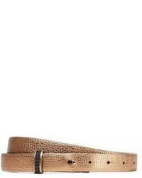Brunello Cucinelli Bead Embellished Metallic Pebbled Leather Belt