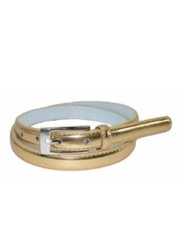CTM Skinny Leather Belt Gold Large