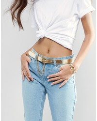 Versace Jeans Leather Belt In Gold With Chain Detail