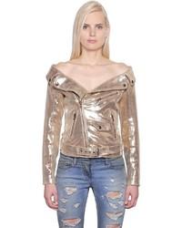 Gold Leather Biker Jacket