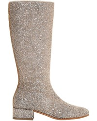 Miss Blumarine Glittered Leather Boots
