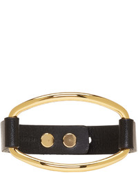 Isabel Marant Black And Gold Leather Bracelet