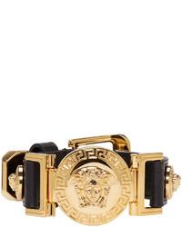 Versace Black And Gold Leather Medusa Bracelet