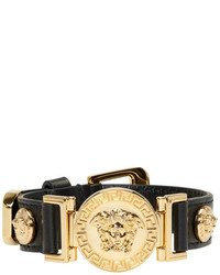 Versace Black And Gold Leather Medusa Bracelet