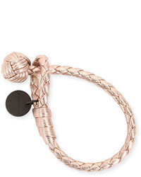 Bottega Veneta Intrecciato Single Knot Grosgrain Bracelet Rose Gold