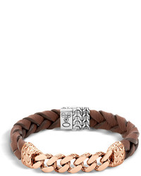 John Hardy Classic Chain Bracelet With Leather Strap