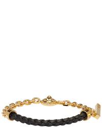 Versus Gold And Black Half Braided Lion Bracelet