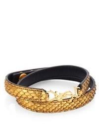Saint Laurent Ysl Embossed Leather Logo Bracelet