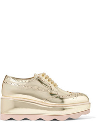 Prada Metallic Leather Platform Brogues Gold