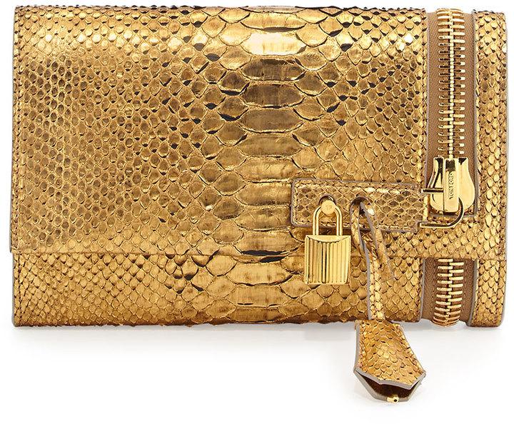 52a6bf22e3a70 Tom Ford Alix Python Zip Padlock Crossbody Bag Gold, $2,790 | Neiman ...