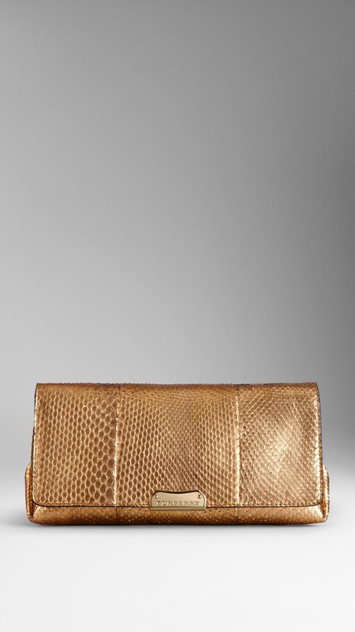 b561d6876da8 ... Gold Leather Clutches Burberry Small Metallic Python Clutch Bag ...