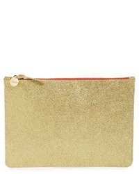 Clare Vivier Clare V Glitter Leather Zip Clutch Metallic