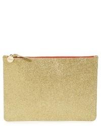 Clare Vivier Clare V Glitter Leather Zip Clutch Metallic