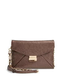 Sondra Roberts Crinkled Metallic Envelope Clutch