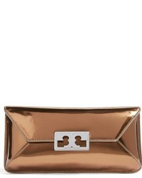 Tory Burch Gigi Metallic Leather Clutch None